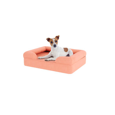 Memory Foam Bolster Dog Bed - Small - Peach Pink