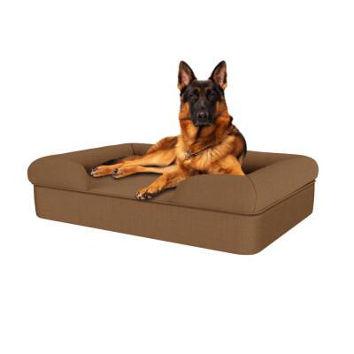 Memory Foam Bolster Dog Bed - Large - Mocha Brown