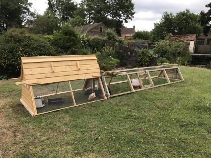 We have made an extension to the chicken coop. The hens love it.