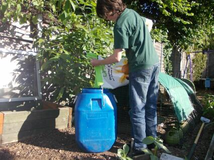 Tam loading the bin with yummy organic feed