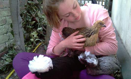 Katie and the chickens