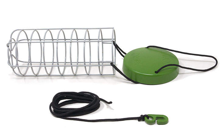 The Caddi Chicken Treat Holder is made from welded steel and features a rain cap, adjustable nylon string and a sturdy plastic hook for easy hanging