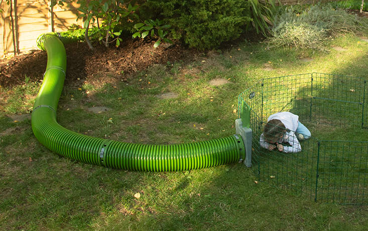 The Zippi Tunnel system allows you to link your rabbit's hutch to a larger run