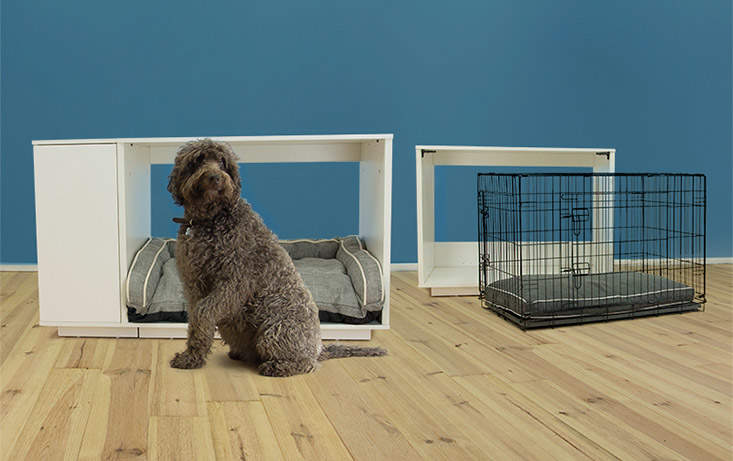 THe Omlet Fido Nook has a removeable crate for puppy training and transport