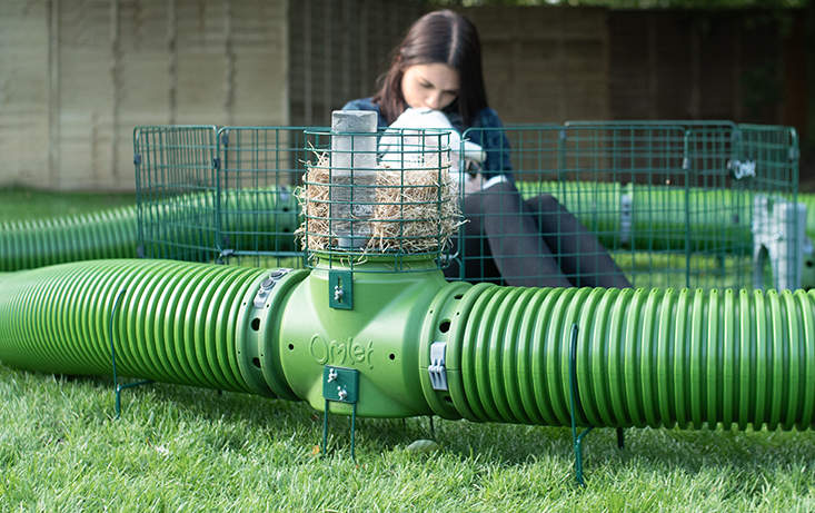 The Zippi rabbit tunnels can be customized with a hay rack, tunnel supports and multiple playpens