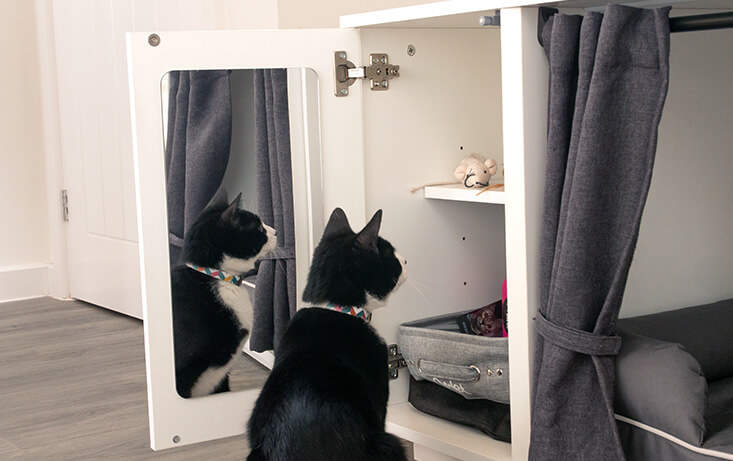 Does your cat have a habit of finding their packet of treats while you are out of the house? The Maya Nook closet offers a neat (and secure!) storage solution