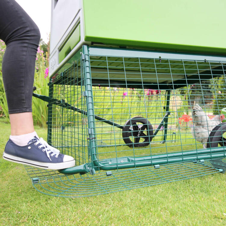 The optional wheels make it super easy to move this large chicken coop to a new patch of grass, even if you're by yourself.