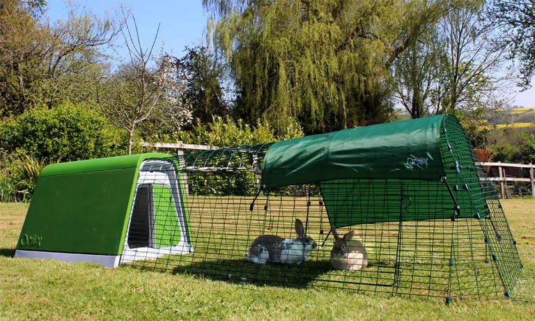 Domek dla królików Eglu Go Hutch prezentuje się cudownie w ogrodzie