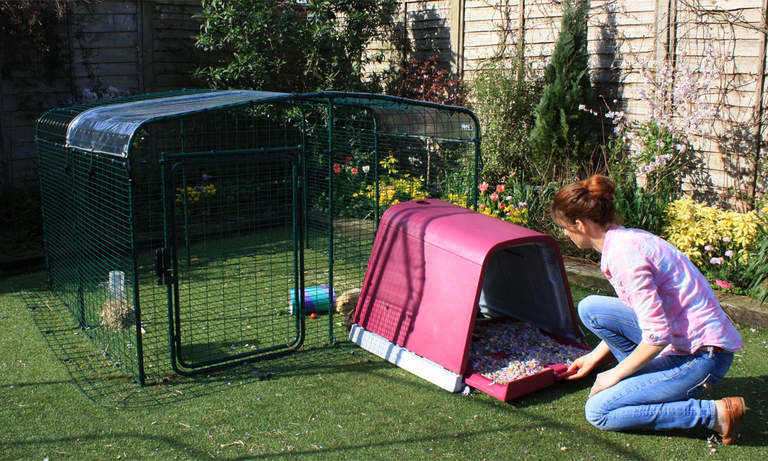 The Eglu Go Guinea Pig Hutch attaches to the Outdoor Guinea Pig Run easily
