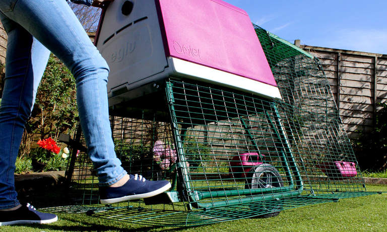 Pedal activated wheels ensure the chicken tractor is one of the most easily movable chicken coops ever!