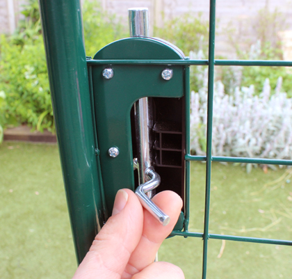 The lock on the Omlet Walk in Chicken Run.
