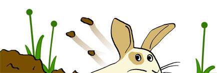 Dibujo de un conejo excavando.