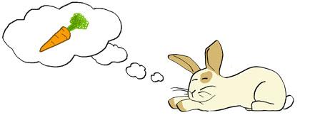 Teckning av en kanin som dagdrömmer om morötter.