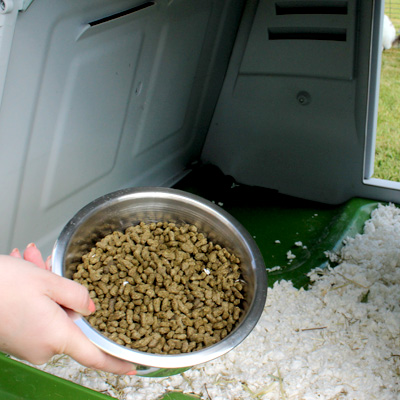Ställ matskålen inne i kanineburen Eglu Go