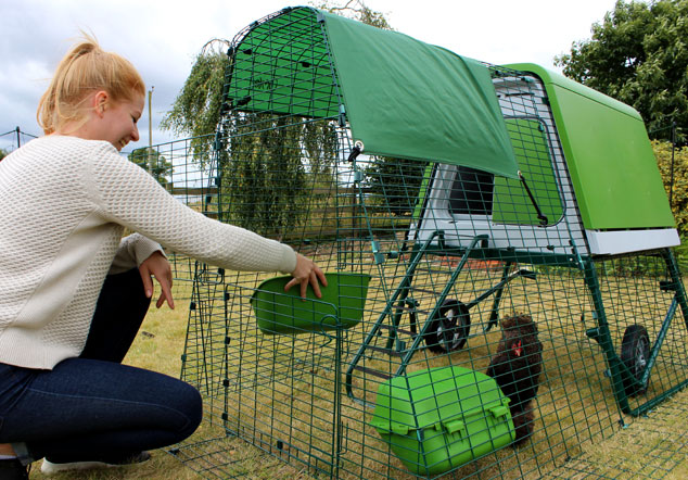 The green Eglu Go Up chicken coop looks great in the garden and chickens love it