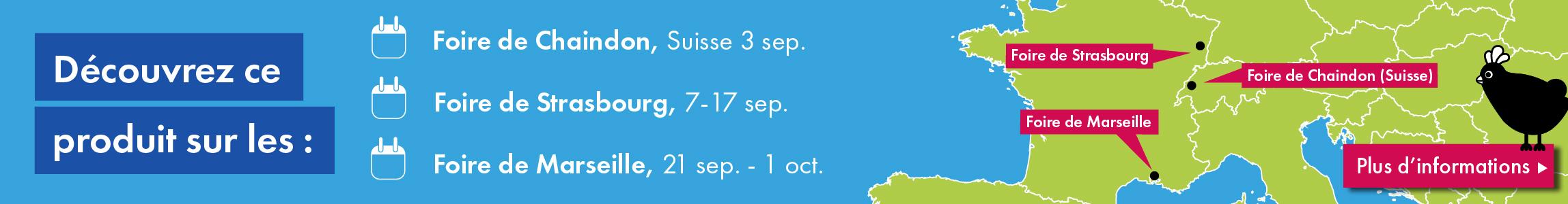 Découvrez les produits Omlet sur les foires de Chaindon, Strasbourg et Marseille