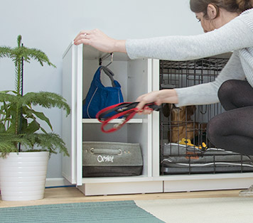 Fido Nooks garderob håller hundens saker på en plats