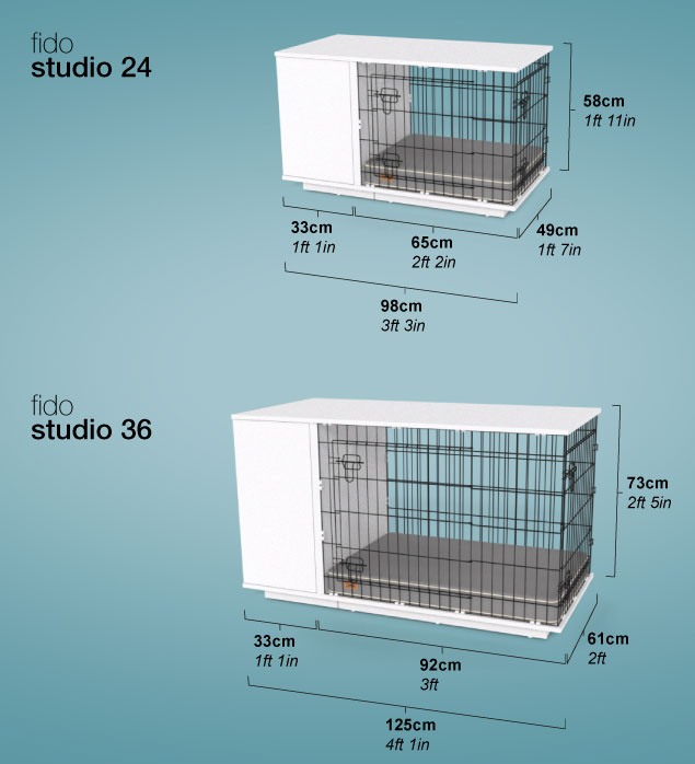 Diagram showing dimensions of Omlet Fido Studio.