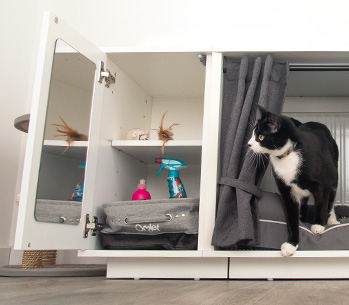 The Maya Nook Wardrobe keeps your cat toys and cat treats tidy