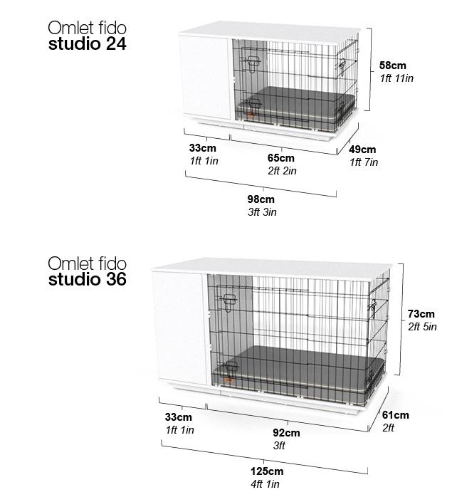 Omlet Fido Studio 24 et 36 dimensions