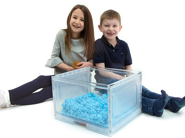 Children playing with Gerbils out of Qute bedding tray.