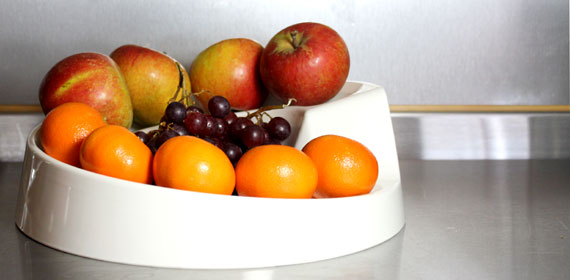 Cream Rollabowl Fruit Bowl in the kitchen