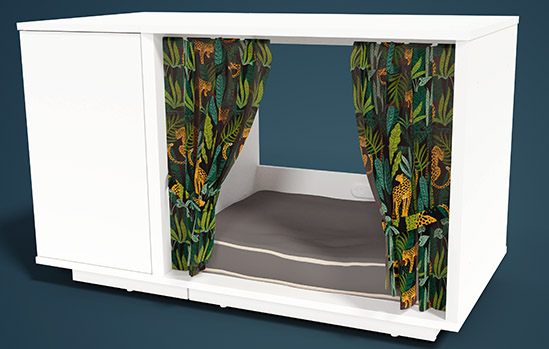 A Maya Nook cat house with customized curtains and cat bed