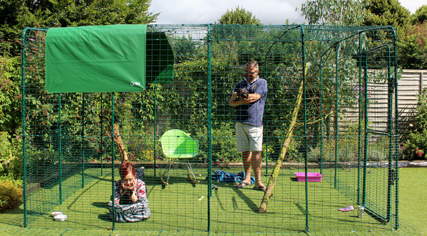 The 9ft x 13ft x 6ft outdoor pet enclosure is perfect if you have more than two cats, or just to give your one cat a kingdom to rule.
