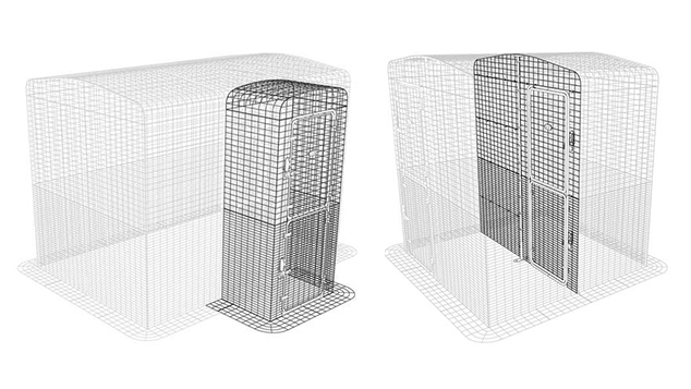 Graphic showing the Entryway and Partition for the Catio Outdoor Cat Enclosure