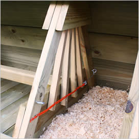 Nest box shutters in Boughton chicken coop.