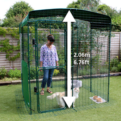 The Hi-Rise Catio Outdoor Cat Enclosure with height arrow