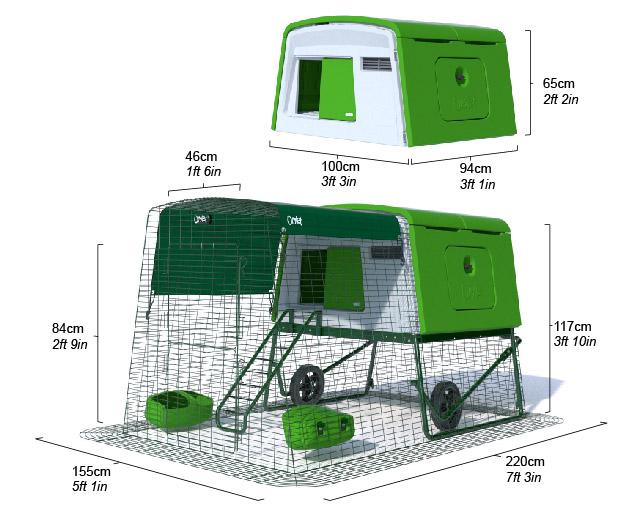 Les dimensions du poulailler en plastique Eglu Cube vert avec un enclos de 2 m.