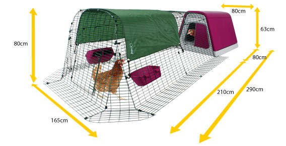 Diagram showing the dimensions of an Eglu Go modern chicken coop and run.