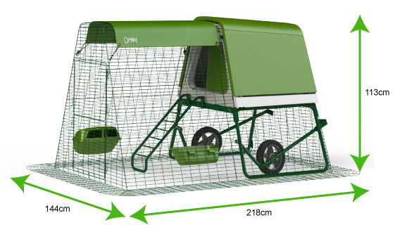 Diagram showing dimensions of Eglu Go UP Chicken house with run.