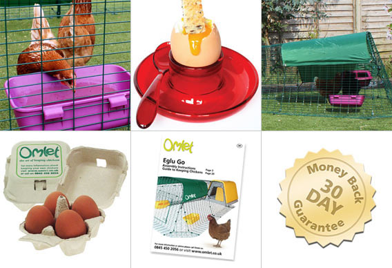 Feeder, Waterer, All Weather Shade, Omlet egg boxes, Omlet guide on chicken keeping, 30 day money back guarantee.