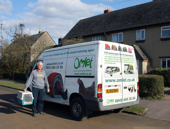 The Omlet van delivering some chickens.
