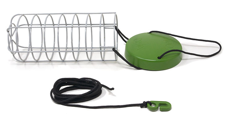 The Caddi rabbit feeder on a white background featuring adjustable nylon string and rain cap