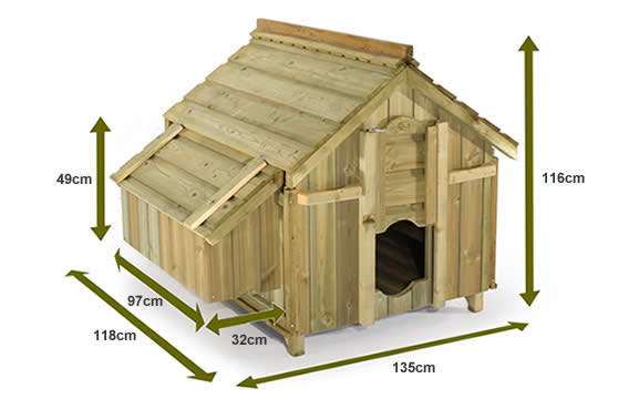 The dimensions of the Boughton Chicken Coop.