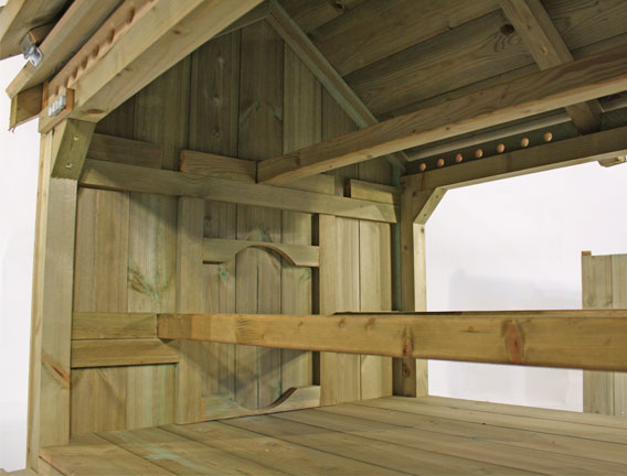 The perches inside a Lenham chicken coop.