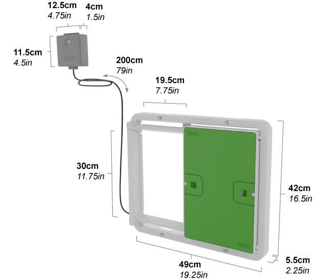 Diagram som visar mått på Omlets automatiska dörr för hönshus