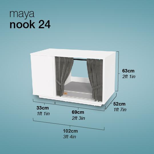 Maya Nook katthus mått