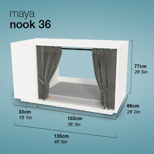 Maya Nook inomhuskatthus mått