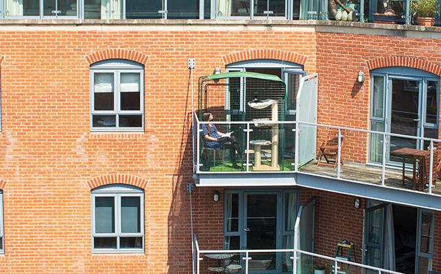 A lady inside the cat balcony enclosure with her cat situated on the side of a block of flats