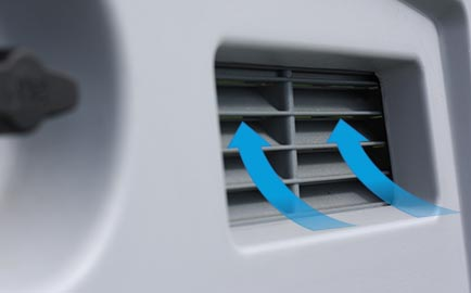 A graphic demonstrating how air flows through the air vents of the Eglu Cube chicken house